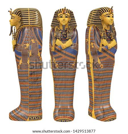 Egyptian Pharaoh Mummy Coffin Isolated. 3D rendering Stock photo ©