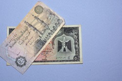 Egyptian 50 piasters banknotes collection, half a pound Egyptian money currency close up. an old banknote versus an older one