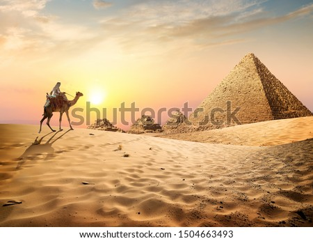 Egyptian pyramids in the desert at sunset #1504663493