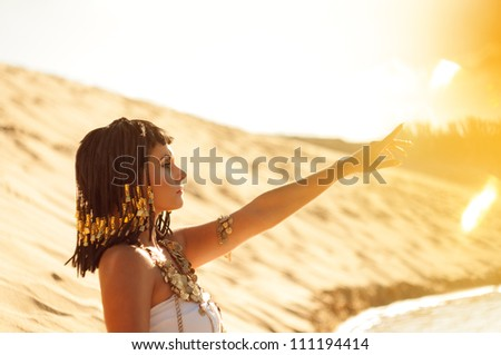Egyptian queen. Shooting outdoors in the style of ancient Egypt