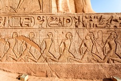 Egyptian relief of defeated and enslaved enemies at the temple of Abu Simbel, Egypt