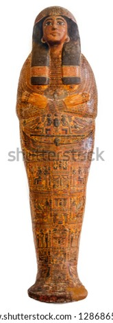 Egyptian sarcophagus isolated over a white background Stock photo ©
