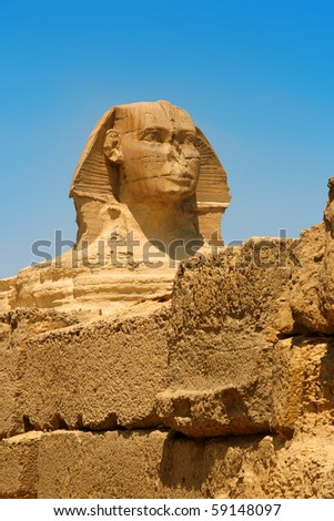 Egyptian sphinx and pyramid in Cairo.