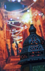 Egyptian Vintage metal lantern on bokeh light