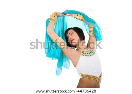 stock photo : Egyptian woman in pharaoh costume over white background