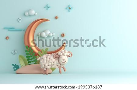Eid al adha islamic decoration background with goat sheep arabic crescent, ramadan kareem, mawlid, iftar, isra  miraj, eid al fitr, muharram, copy space text area, 3D illustration.
