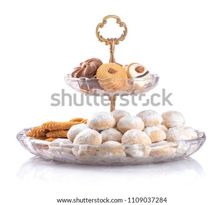 Eid Al-Fitr Cookies, Muslim Lesser Holiday Snacks Isolated on White