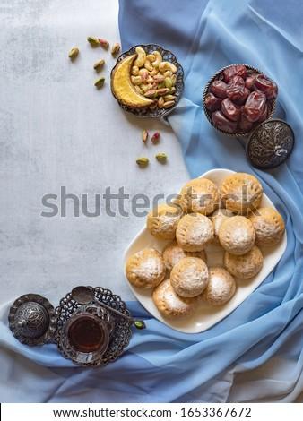 """Eid and Ramadan Dates Sweets - Arabian cuisine. Egyptian cookies """"Kahk El Eid"""". Top view."""