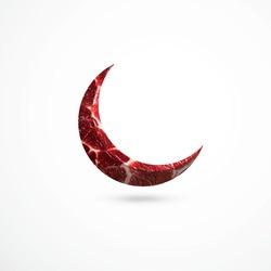 Eid moon, Moon shaped meat on isolated background, Muslim holiday Eid al-Adha, kurban bayrami,Meat cuts, fresh raw beef steak, Luxury beef,Fresh meat cut up into steaks, Eid al-Adha