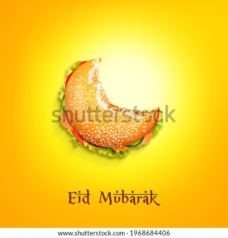 Eid Mubarak and Ramadan creative concept design. Eid ul-Fitr, Eid ul-Adha. The moon is made with a Burger plate isolated view. Half bite Burger food shape of Eid moon. Special burger.