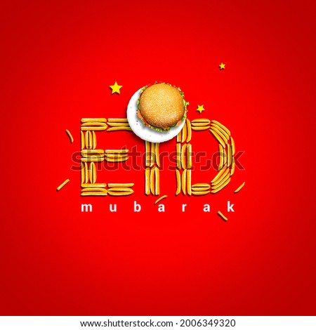 Eid Mubarak and Ramadan creative concept design. Eid ul-Fitr, Eid ul-Adha. The moon is made with a Burger plate isolated view. Eid text makes with French Fries. Special taste burger. Red Background.