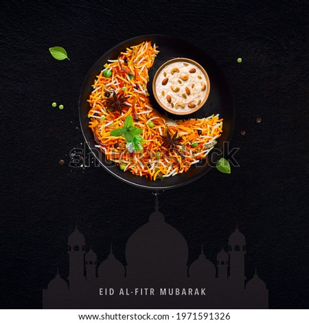 Eid Mubarak (Blessing for Eid): A Creative poster for Eid with Moon and iftar meal together.
