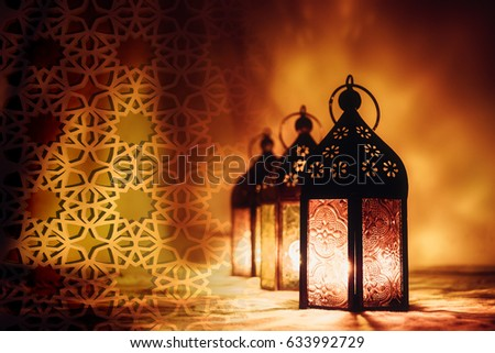 Eid Mubarak Ramadan Kareem greeting - islamic muslim holiday background wit eid lantern or lamp #633992729