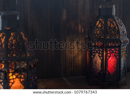 Eid or Ramadhan lantern in lowlight #1079767343
