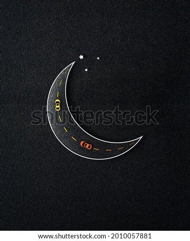 Eid ul-Fitr, Eid ul-Adha. Religious holidays are celebrated by Muslims worldwide. Creative Idea, Concept Design Eid Mubarak. Go home during Eid by car on the moon. 3D illustration, 3D rendering. Black
