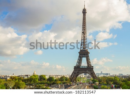 eiffel tour from Trocadero hill Paris France