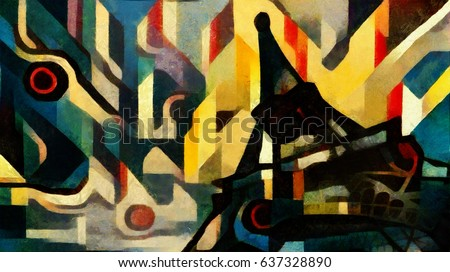 Eiffel tower. Abstraction in the style of modern avant-garde. Executed in oil on canvas with elements of pastel painting.Famous style of Georges Braque, Matisse, van Gogh, Pollock
