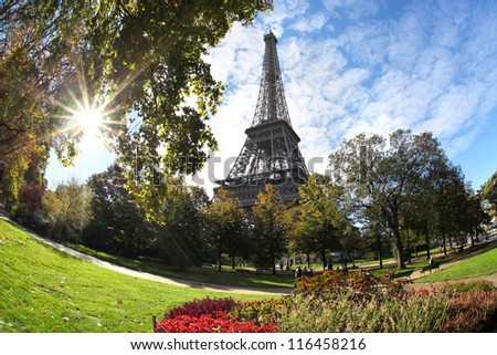 Eiffel tower against autumn tree and sunrise in Paris, France
