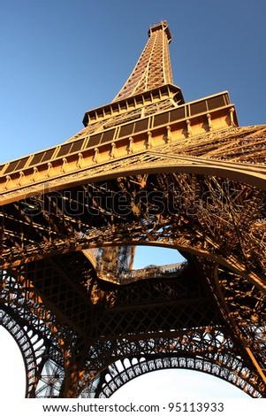 Eiffel Tower against blue sky in Paris, France