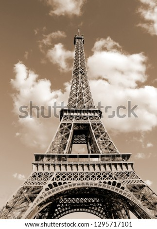 Eiffel Tower also called Tour Eiffel in french language with toned vintage sepia effect