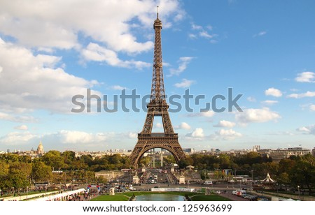 Eiffel Tower and cityscape at sunset light from Trocadero. Paris , France