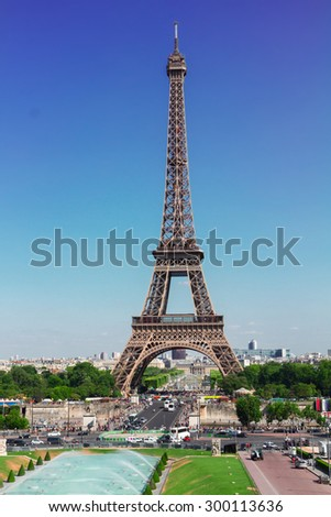 Eiffel Tower and Paris cityscape in summer day France