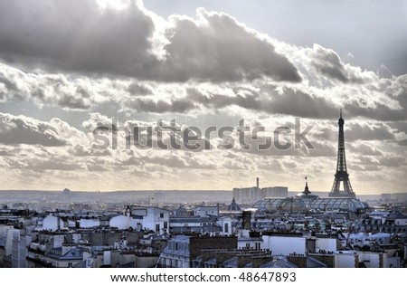 Eiffel tower and Paris roof view