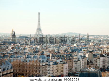 Eiffel Tower and roofs of Paris