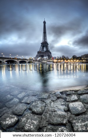 Eiffel Tower and Seine River in Paris - France