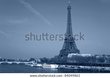 Eiffel tower and Seine river, Paris, France.