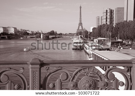 Eiffel Tower and the banks of the River Seine, Paris, France