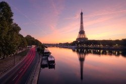 Eiffel Tower and the Seine river at Sunrise, Paris, France