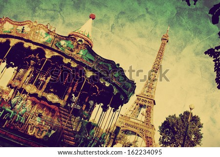 eiffel tower and vintage...
