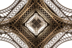 Eiffel Tower architecture detail, bottom view. unique angle