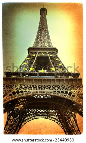 Eiffel tower -artistic picture in retro style