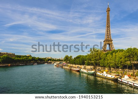 Eiffel Tower at left bank of seine river in paris, france Stock photo ©