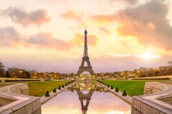 Eiffel Tower at sunrise from Trocadero Fountains in Paris, France