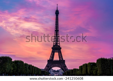 Eiffel Tower at sunset is the most visited monument in France and the most famous symbol of Paris, stock photo