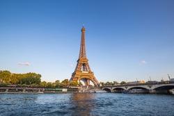 Eiffel Tower at sunset with seine river,Paris