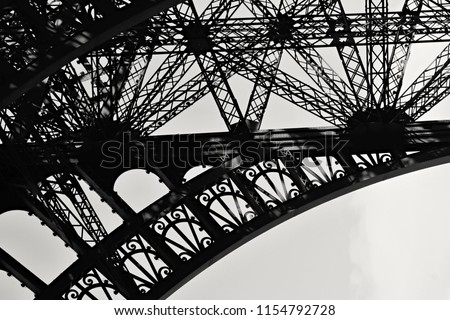 Eiffel tower black and white detail art
