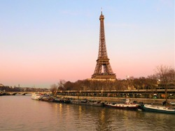 Eiffel Tower by the Seine on a Winter Afternoon
