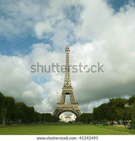 Eiffel Tower centered in landscape