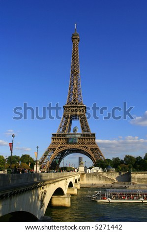 Eiffel tower, decorated for the rugby world cup 2007
