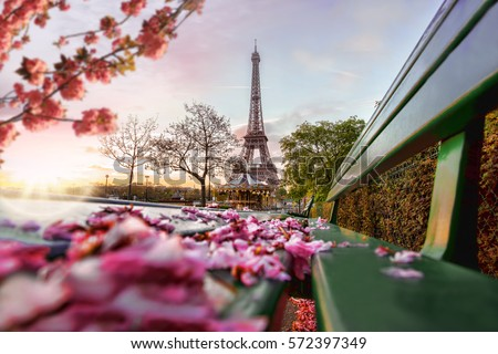 Eiffel Tower during spring time in Paris, France #572397349