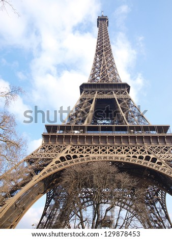 Eiffel tower fragment in Paris during the repair maintenance