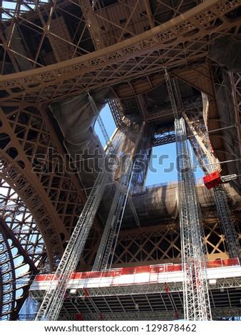 Eiffel tower fragment in Paris during the repair maintenance