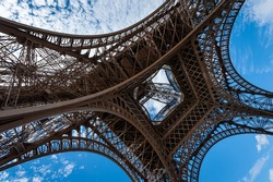 Eiffel tower from below on a sunny day in summer, Paris France