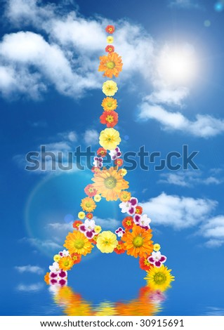 eiffel tower from flowers with reflection and sun against blue sky