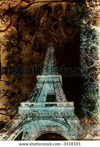 Eiffel Tower from Paris, France on grunge background with swirls and scrolls
