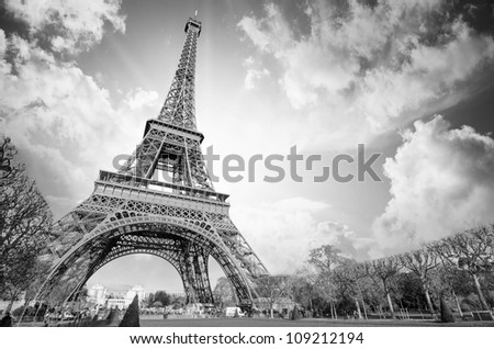 Eiffel Tower glory on a cold and sunny Winter day in Paris, France - stock photo